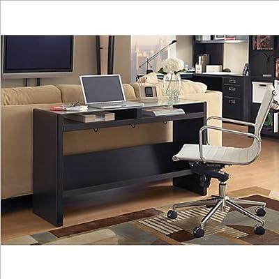Elegant Bush Furniture Kathy Ireland Office Laptop Sofa Table with Glass Top Mocha Finish