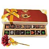 Yummy Dark And Milk Chocolates With 24k Red Gold Rose - Chocholik Belgium Chocolates