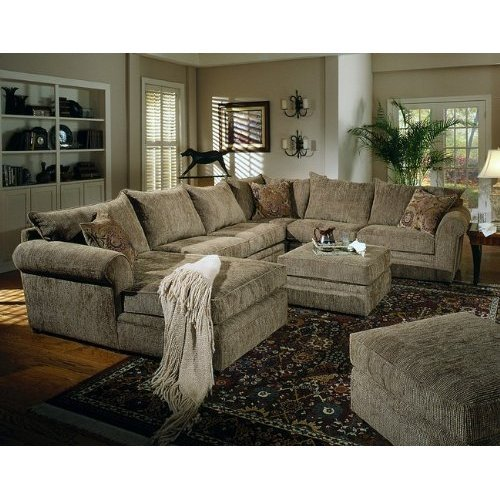 Olive Chenille Fabric Sectional Sofa Couch w/Coffee Table Ottoman