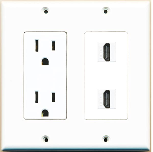 RiteAV - 15 Amp Power Outlet 2 Port HDMI Decora Type Wall Plate - White (Color: White)