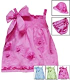 Rare Editions Baby/NEWBORN 3-Piece PINK FLORAL EMBROIDERED BOW SHOULDER SMOCKED Spring Summer Party Dress