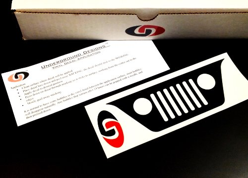 Wrangler Jk Jku Jeep Windshield Grill Decal 2007-2014 Sticker Kit Gloss Black By Underground Designs