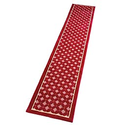 Collections Etc Lattice Two Tone Extra Long Floor Runner Rug, 22 X 120, Burgundy