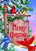 Christmas Sign Post Winter Bird Garden Flag