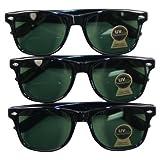 Classic 3-pack Glass Lens Wayfarer Style Sunglass