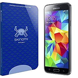 Skinomi Tech Glass - Samsung Galaxy S5 Glass Screen Protector / Ultra Thin (.33mm Thickness) Premium Tempered Glass - Crystal Clear 9H Hardness with Oleophobic Coating - 99% Clarity and Touchscreen Accuracy - Retail Packaging
