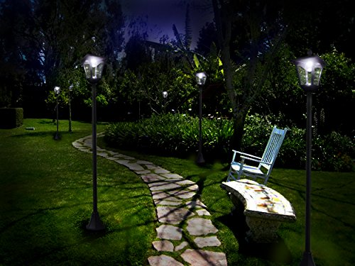 "65"" Street Vintage Outdoor Garden Leds Bulb Solar Lamp Post Light Lawn - Adjustable"
