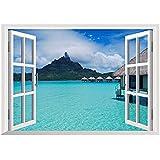 Auralum 3Dウォールステッカー トリックアート 3Dステッカー 窓から美しい海の景色が見えるデザイン お部屋の雰囲気一新!