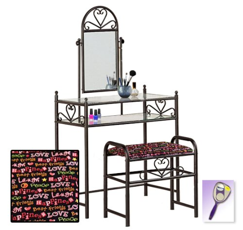 New Black Finish Make Up Sweetheart Vanity Table With Mirror & Peace & Love Themed Bench Includes Free Purse & Hand Mirror!