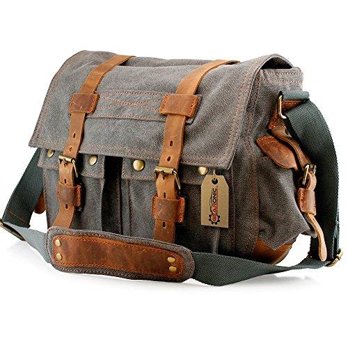 GEARONIC TM Men's Vintage Canvas Messenger Bag Shoulder and Leather Satchel School Military - Slate (Vintage Mail Bag compare prices)