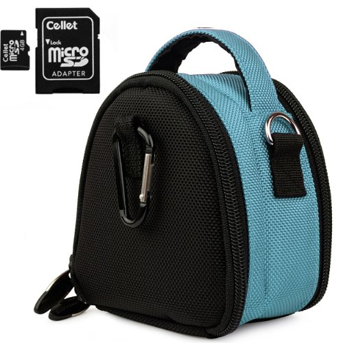 Light Blue Limited Edition Camera Bag Carrying Case With Extra Accessory Compartment For Nikon Coolpix Point And Shoot Digital Camera