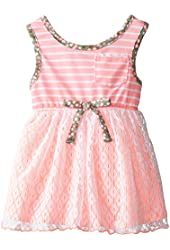 Youngland Baby Girls' Knit Fashion Dress with Crochet Overlay