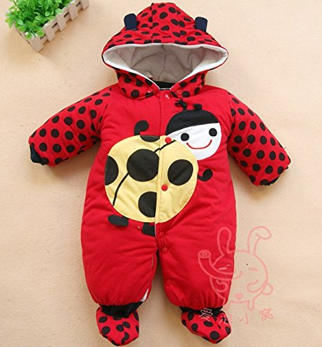 Christmas Baby Thick Cotton Rompers Cartoon Boy/Girl Jump Suit Winter (4-6 Months, Red)