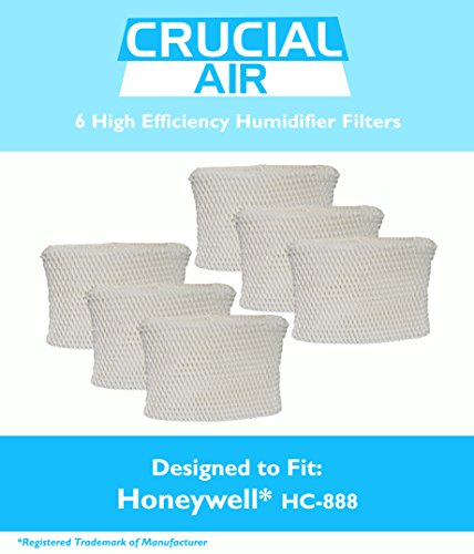 6 Honeywell HC-888 & Duracraft D88 Humidifier Filter Fits DCM-200, DH-888, DH-890, DH-890C, DCM-891B, DCM-891S (AC-888),HCM-890, HCM-890B, HCM-890C, HCM-890-20 (AC-888), HCM-890-MTG & S35E-A, Designed & Engineered by Crucial Air (Humidifier Filter D88 compare prices)