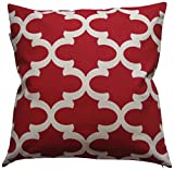 JinStyles® Cotton Canvas Quatrefoil Accent Decorative Throw Pillow Cover (Christmas Red, White, Square, 1 Cover for 18 x 18 Inserts)