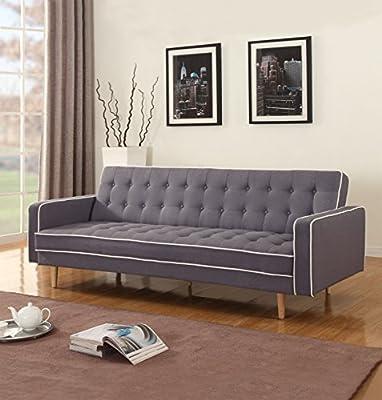 Mid-Century Modern Two Tone Vintage Linen Sleeper Futon Sofa