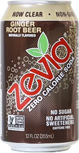 Zevia Zero Calorie Soda, Ginger Root Beer, Naturally Sweetened, (Pack of 24)