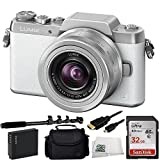 Panasonic DMC-GF7KW Compact System Camera (DSLM) with 12-32mm Kit Lens Selfie Bundle. Includes SanDisk Ultra 32GB Class 10 SDHC Memory Card (SDSDUN-032G-G46) + Extended Life Replacement Battery + 48