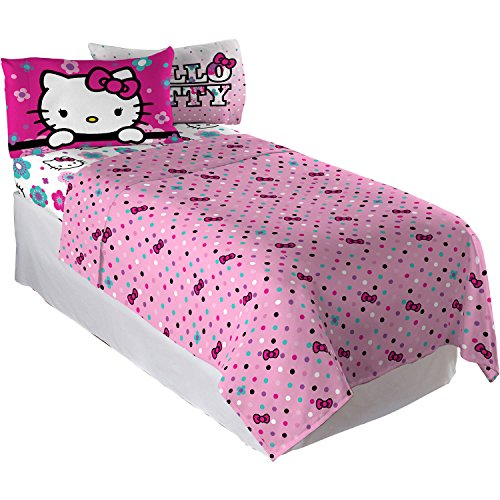 Hello Kitty Floral Dots 4 Piece Twin forter and Sheet