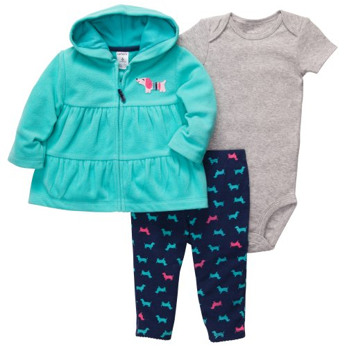 Carter'S Girl'S 3 Piece 'Dog' Pant & Hoodie Set (3 Months) front-726542