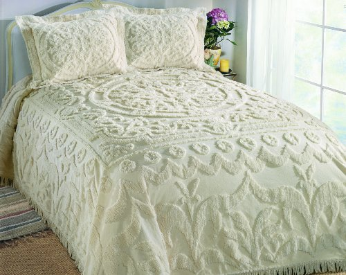Columbine Cody Chantilly Chenille King Bedspread, White