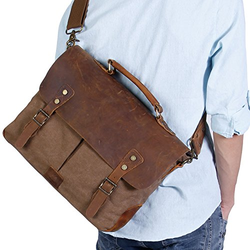 Langforth Genuine Leather Vintage 15.6″ Laptop Canvas Messenger Satchel Bag Coffee 16″(L)x11″(H)x4″(W)