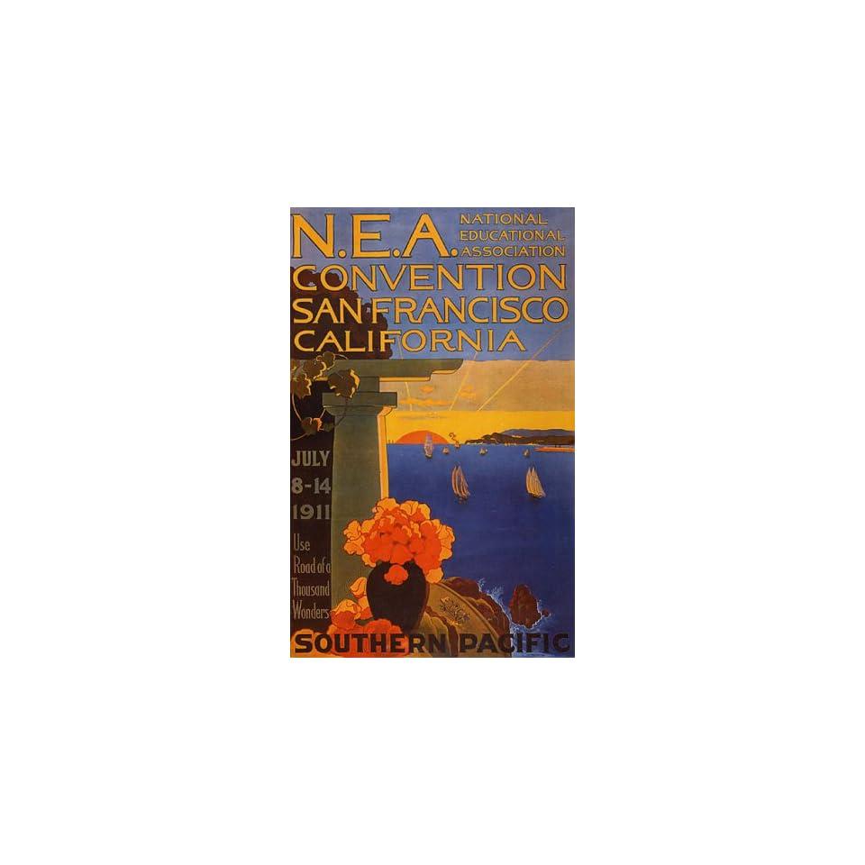 EDUCATIONAL CONVENTION SAN FRANCISCO CALIFORNIA SAILBOAT LARGE VINTAGE POSTER REPRO