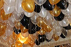 GrandShop 50412 Gold Theme Party Metallic HD Balloon - Gold, Black & White (Pack of 50)