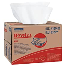 "Kimberly-Clark WypAll 41044 X80 Disposable Wiper, 12.5"" Width x 16.8"" Length, White (Box of 160)"