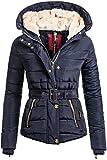 Winterjacke | Wintermantel | Stepp-Jacke für Damen von Navahoo - eleganter Kurz-Mantel im schlanken Parka-Stil mit Fellkapuze aus Kunstpelz auch für den Übergang Herbst / Winter