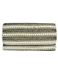 Women's Evening Clutch Bag Layered With Drop Pearl & Glass Bead Design