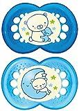 MAM-Juego de chupetes de noche con sterilisable estuche de viaje (6meses Plus), color azul