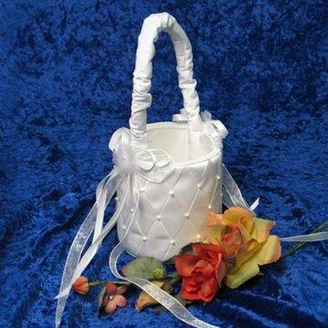"""Brenna Woven Ribbon Bridal/Wedding Flower Girl Basket <br><font color=""""#FF0000"""">*On Sale*</font><br>"""