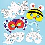 Lot de 6 Masques Insecte à colorier et décorer - idéal pour les déguisements de Carnaval pour enfants...