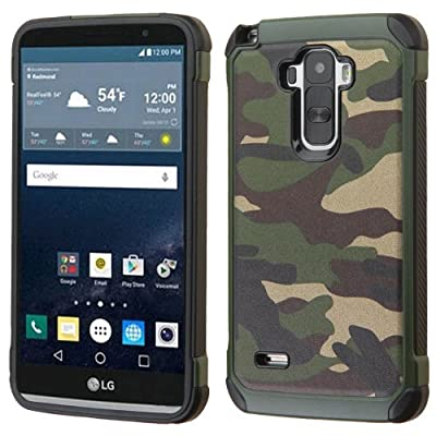 Asmyna Phone Case for LG LS770 (G Stylo) - Retail Packaging - Black/Green from Asmyna