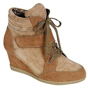 Reneeze BEATA-03 Womens Color-Block Wedge Sneaker Booties-CAMEL/BEIGE-6
