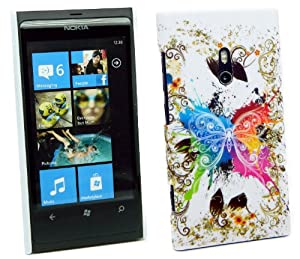 Kit Me Out UK Plastic Clip-on Case for Nokia Lumia 800 - Coloured Butterfly