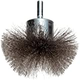 Weiler Circular Flared Wire End Brush, Round Shank, Stainless Steel 302, Crimped Wire