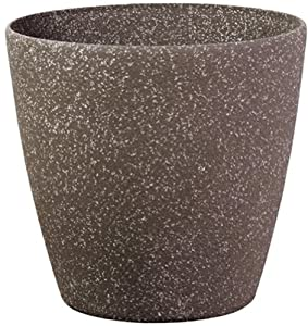 Stone Light SL Series Cast Stone Round Planter, 24-Inch, Mocha Sandstone, 2-Pack