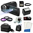Sony HDR-PJ430V Handycam 32GB Full HD Camcorder with Projector Bundle with Sony 32GB Memory Card + Sony Soft Carrying Case + Wasabi Power Replacement Battery for NP-FV70 + 3pc Glass Filter Kit and Accessory Kit