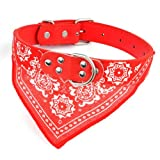 Smartbargain Extra Large Adjustable Pet Dog Cat Bandana Puppy Neck Scarf Leather Collar Charm Bow Tie (Red)
