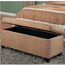 Coaster Classic Tan Microfiber Storage Bench with Nailhead Trim Design
