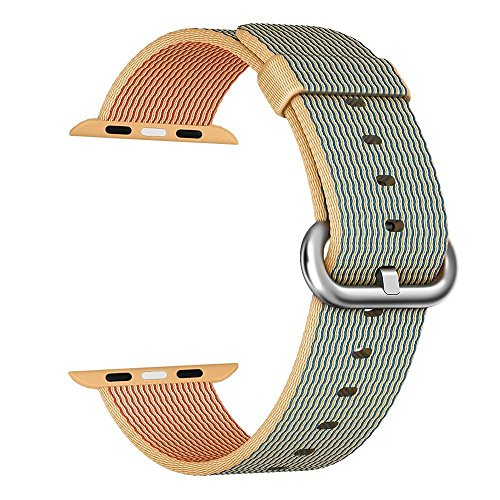 Apple Watch cinturino ,PUGO TOP Woven Nylon Replacement Wrist cinturino Bracelet Strap for Apple Watch/Apple Watch Series 2 (42mm ,Oro/Blu reale)