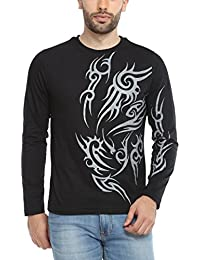 PepperClub Men's Cotton Round Neck Full Sleeve Tshirt - Tattoo Print