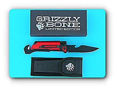 Grizzly Bone SK-61 6-in-1 Survival Tactical Pocket Folding Knife with Seatbelt Cutter, Glass Breaker, Fire Starter, LED Light & Bottle Opener; Great for the Hunting, Hiking, Outdoor and Camping World; 420 Stainless Steel & Lifetime Warranty by Grizzly Bon