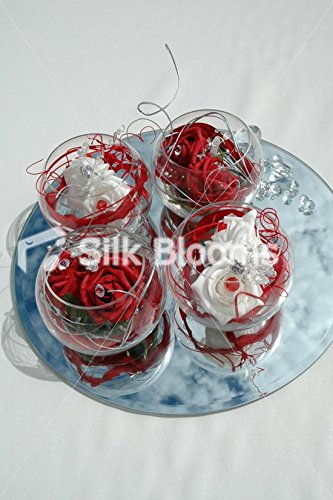 Quatre Fishbowl Arrangement de Table Rouge &cristal Roses Blanc