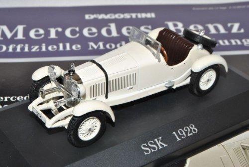 Mercedes-Benz SSK 1928-1932 Weiss Cabrio W06 II Inkl Zeitschrift Nr 13 1/43 Ixo Modell Auto