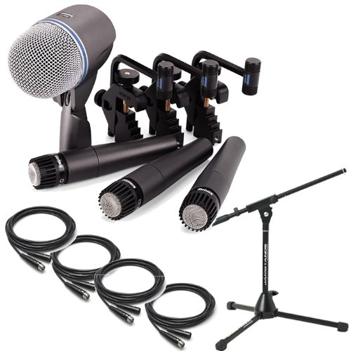 Shure Dmk57-52 4 Piece Drum Mic Kit W/(4) 25' Cables & Jamstands Kick-Mic Stand