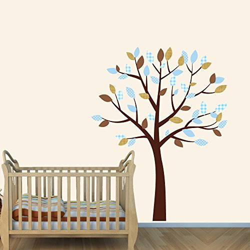 Vinyl Tree Wall Decals, Tree Stickers, Nursery Décor, Blue Brown front-1013349