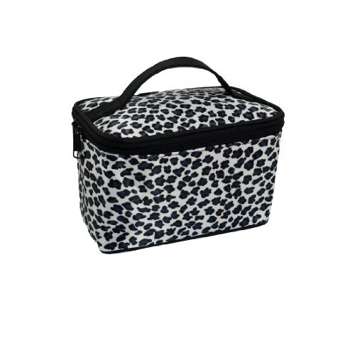 FOREVER YUNG Dual Zipper Closure Leopard Print Travel Makeup Cosmetic Hand Bag White for Lady friends forever